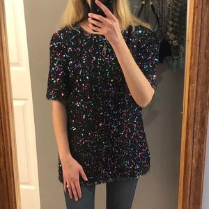 Vintage sequin and silk tunic